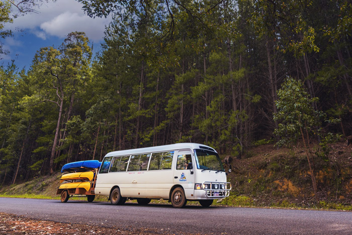 Waypoints Dwellingup Adventures Bus Charter pulling canoes