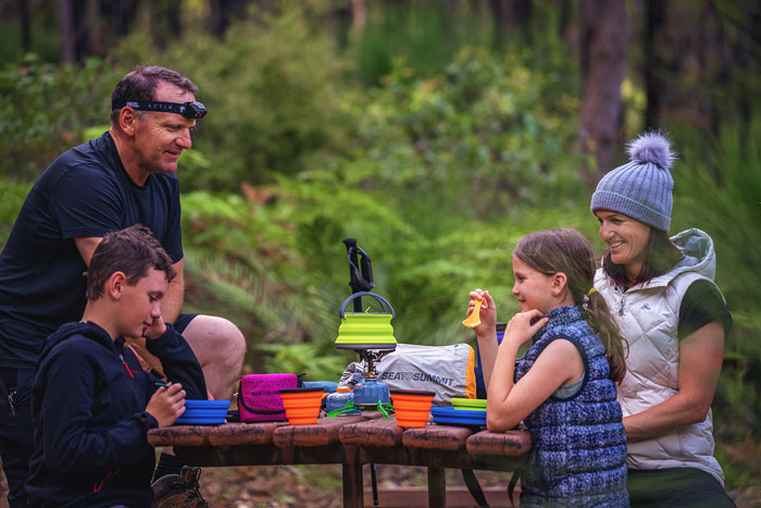 family using hired camping equipment